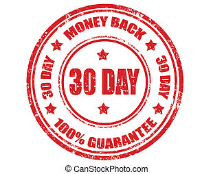 Money back - Grunge rubber stamp with text Money back,vector...
