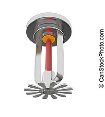 Ceiling Fire Sprinkler isolated on white - 3d illustration