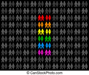 Homosexual Couples And Rainbow Flag - Icons of gay couples....