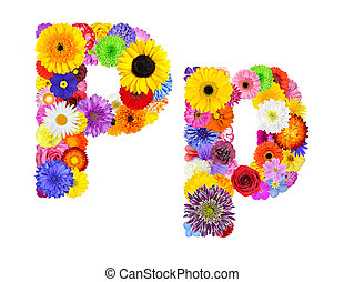 Flower Alphabet Isolated on White - Letter P - Letter P of...