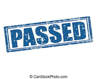 Passed -stamp - Grunge rubber stamp with word Passed...