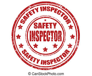 Safety inspector-stamp - Grunge rubber stamp with text...