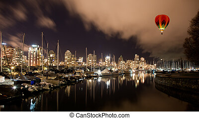 Vancouver city harbor at night, Canada BC - The Vancouver...