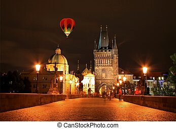 The night view of the beautiful Prague City along the River...