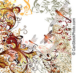 Creative music background with flor - conceptual music...