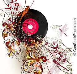 Creative music background with notes and ornament -...
