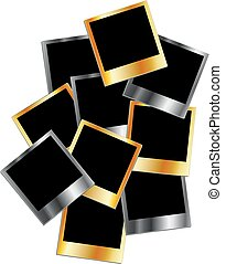 Gold and silver metallic polaroids