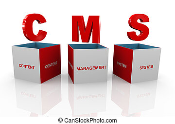 3d box of cms - content management system - 3d illustration...