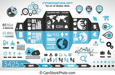 Infographic elements - set of paper tags, technology...