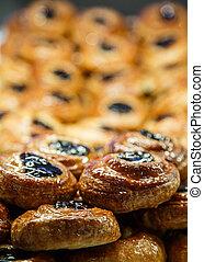 Prune Danish in Bakery Case - Fresh Danish pastries with...