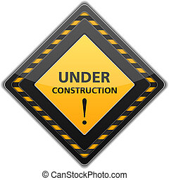 Black under construction sign, vector eps10 illustration