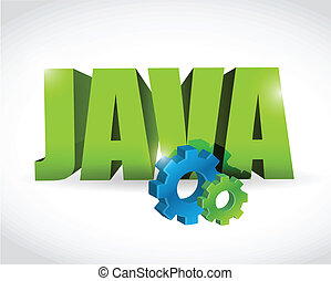 java gear text sign illustration design over a white...
