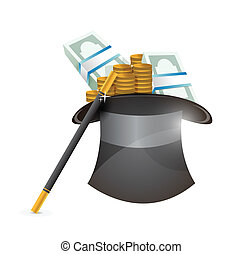 hat with money illustration design over a white background