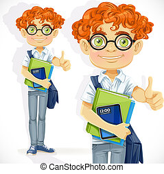 Cute boy in glasses with textbooks