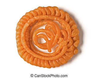 indian jalebi sweet - close up of an indian jalebi sweet