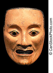 Mikazuki, Noh mask of male spirit Japan, Momoyama period...