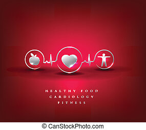 Health care symbol Healthy food and fitness leads to healthy...