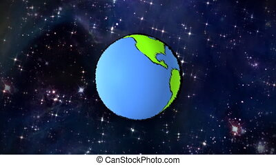 planet line at space - cartoon earth background