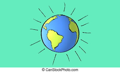earth line with green background - cartoon earth background