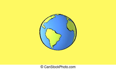 earth map with yellow background - cartoon earth background