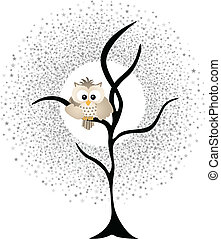 Owl Against a Star Night Sky - Scalable vectorial image...