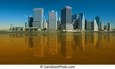 lower manhattan clear photo with artificial reflection in...