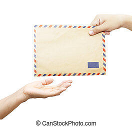 Passing mail, man's hand passes the envelope to another hand...