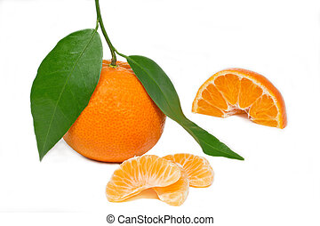 Fresh mandarin on white background