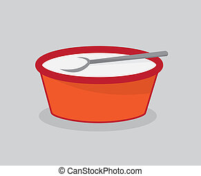 Bowl of Milk with Spoon - Bowl of milk for cereal with spoon...