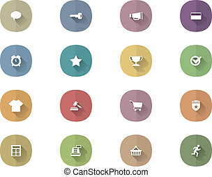 Vector Icons With Long Shadow