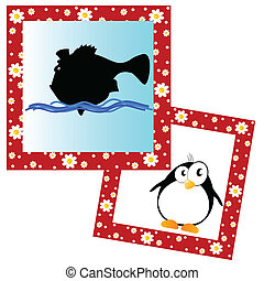 photo frame with fish and penguin vector illustration