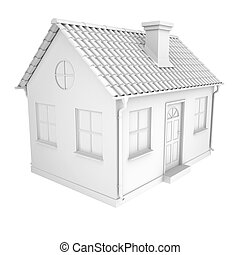 Little white house - The little white house. Isolated render...