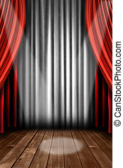 Vertical Stage Drapes With Spot Light - Vertical Stage...