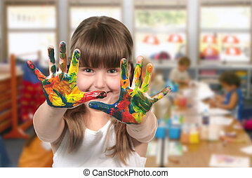 Classroom Painting in Kindergarten - Happy Girl Painting...