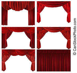 Dramatic red old fashioned elegant theater stage elements -...