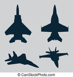 Jet Fighter Silhouettes - These are vector silhouettes of a...