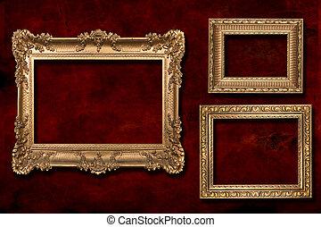 3 Gold Frames Against a Grunge Background - 3 Gold Frames...