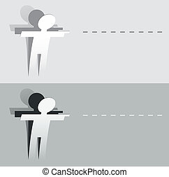 Paper cut pointing human figure. Additional Vector eps10. No...