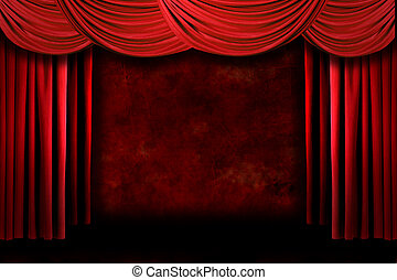 Red Grungy Stage Theater Drapes With Dramatic Lighting -...