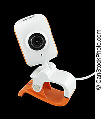 web camera on black background