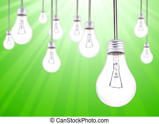 Many Lightbulbs Hanging on a Green Starburst Background