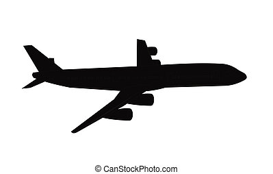 airliner in silhouette - airplane in silhouette