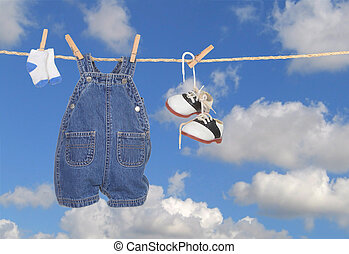 Baby Boy Clothes Hanging Outdoors