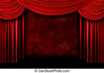 Background of Red Stage Theater Drapes - Grunge Stage...