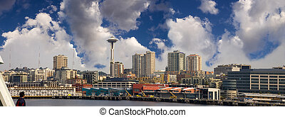 Seattle Skyline Panoramic - The Seattle skyline as seen from...