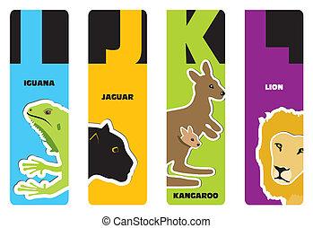 bookmarks - animal alphabet I for iguana, J for jaguar, K...