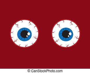 Eyeballs Bloodshot - Two round red bloodshot eyeballs