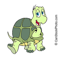 Cute Turtle - hand drawn cartoon of a little turtle