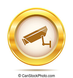Golden shiny icon - Round glossy icon with brown design on...