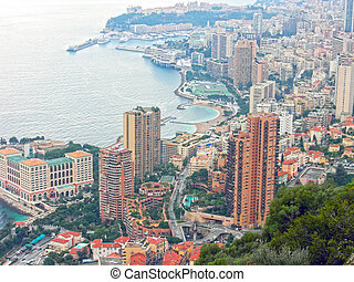Monte Carlo aerial view in Monaco, French Riviera